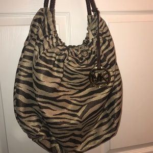 Michael Kors Brown/Gold Zebra Print Canvas Hobo